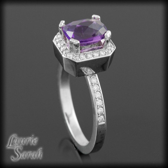 Amethyst Engagement Ring, Amethyst Right Hand or Engagement Ring with Diamond Halo - February Birthstone - LS1440