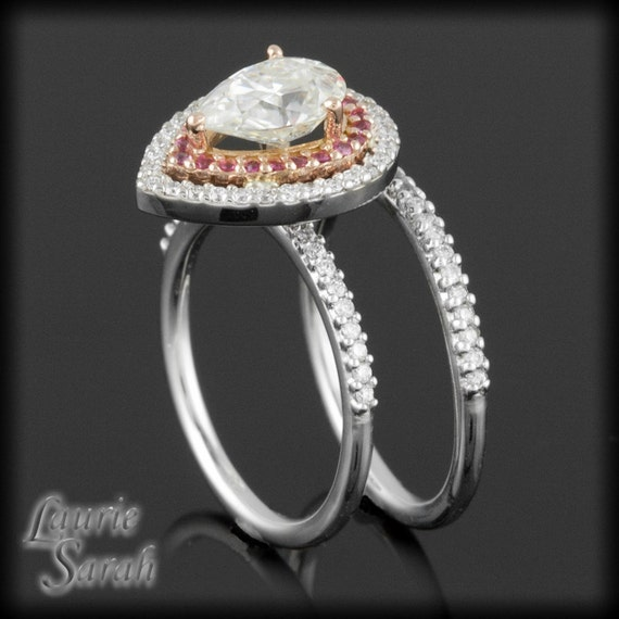 Moissanite Ring; Moissanite, Pink Sapphire, and Diamond Double Halo Ring with a Half Eternity Wedding Band - LS1339