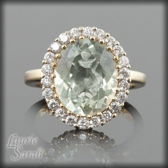 Laurie Sarah Prasiolite and Diamond Statement Ring in 14kt Yellow Gold - LS1931