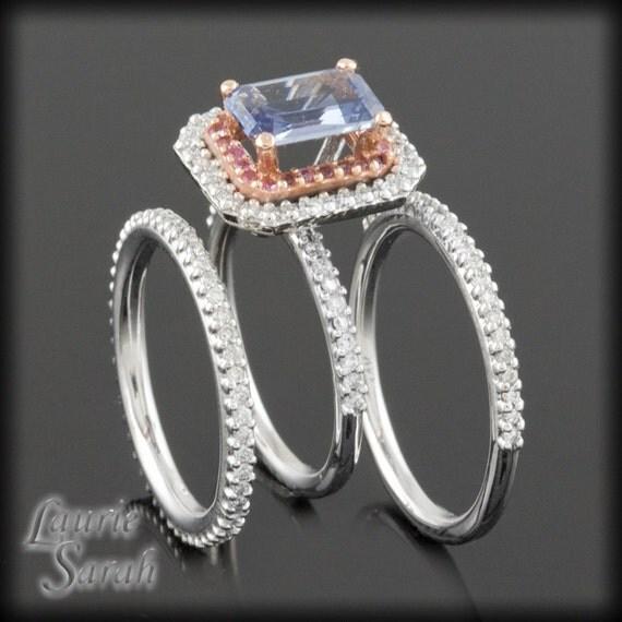 Blue Sapphire Engagement Ring, Cornflower Blue Sapphire and Diamond Engagement Ring and Wedding Band Set - LS1960