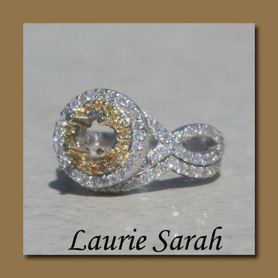 Engagement Ring, Yellow Sapphire Ring, Double Halo Wedding Set Semi Mount with Yellow Sapphires and Diamonds - LS1723