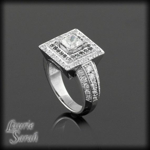 Diamond Ring, Princess Cut Diamond Engagement Ring with Black & White Diamond Double Halo - LS1254