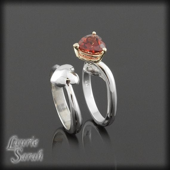 Engagement Rings, Hidden Heart Garnet Engagement Ring and Wedding Ring Set - Three Hearts - LS903
