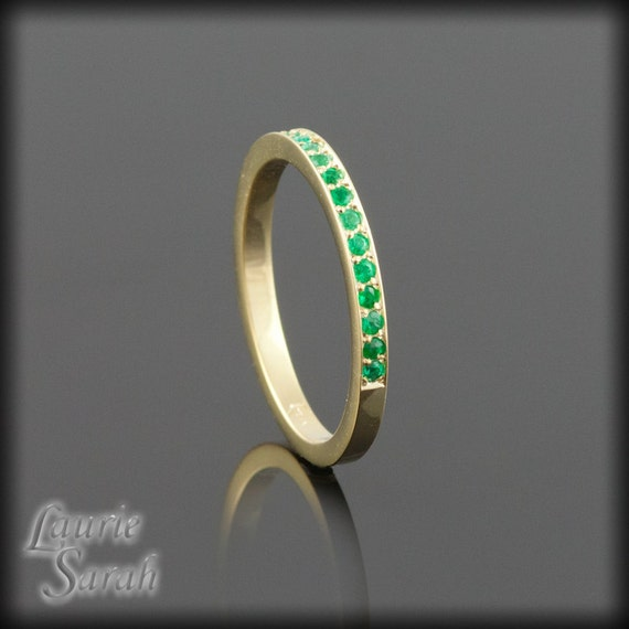 Emerald Birthstone Stacking Ring, Spring Stacking Ring, May Birthstone Mother's Ring or Grandmother's Ring - LS1581