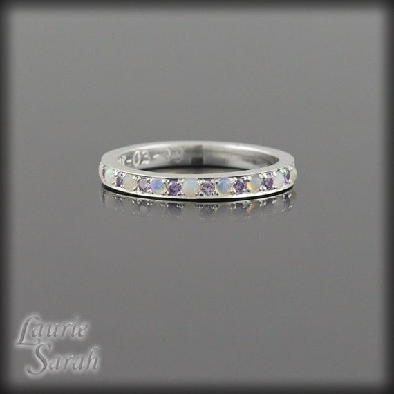 Mother's Ring, February Birthstone Mother's Ring, October Birthstone Simulated Birthstone Ring, Personalized Mother's Ring - LS2081