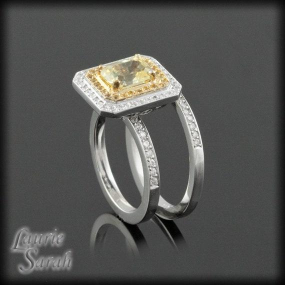 Sapphire Engagement Ring, Lemon Yellow Sapphire Wedding Set with Yellow Sapphires and Diamonds - LS2085