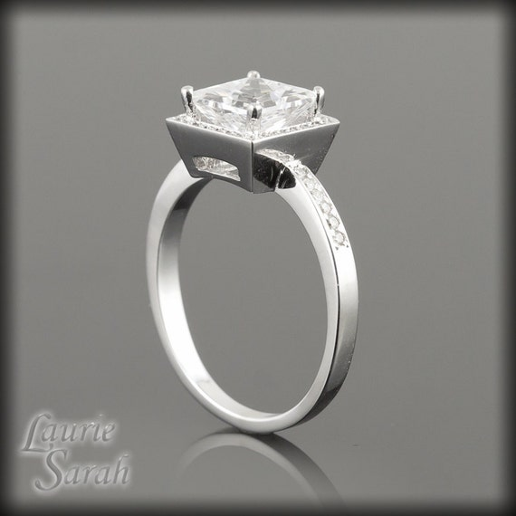 White Sapphire Engagement Ring, Pave Diamond Halo Engagement Ring with Princess Cut White Sapphire - LS367