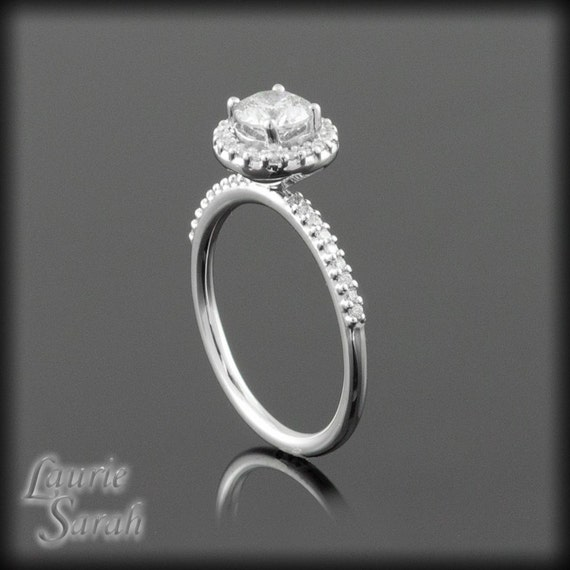 Diamond Engagement Ring with Hidden Hearts and Single Halo - LS749
