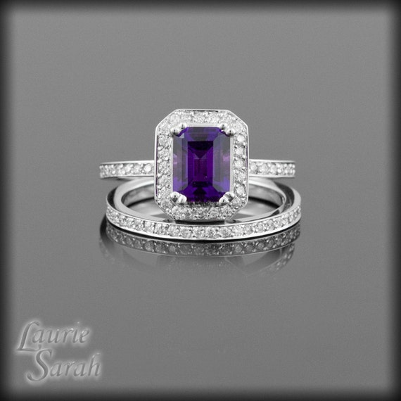 Amethyst engagement ring with diamond halo and full eternity for Amethyst diamond wedding ring set