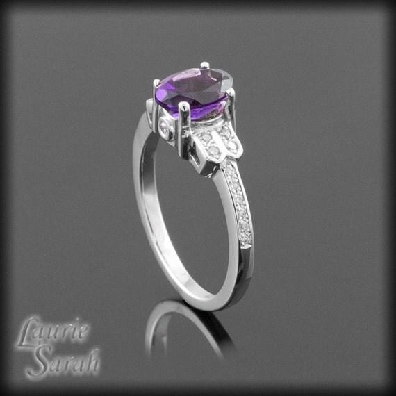 Amethyst Ring - February Birthstone - Amethyst and Diamond Right Hand Ring - LS796