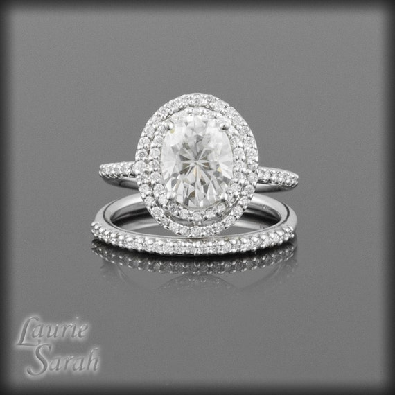 Moissanite Engagement Ring, Oval Moissanite with Double Halo of Diamonds Wedding Ring Set - LS1733