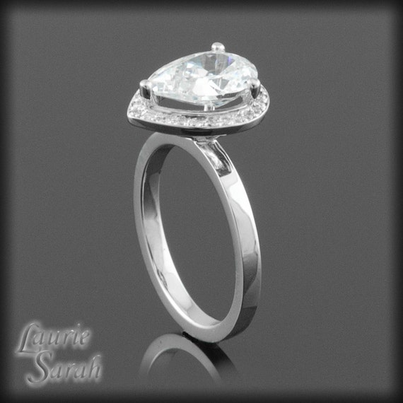 alternative engagement ring pear cut cz by lauriesarahdesigns