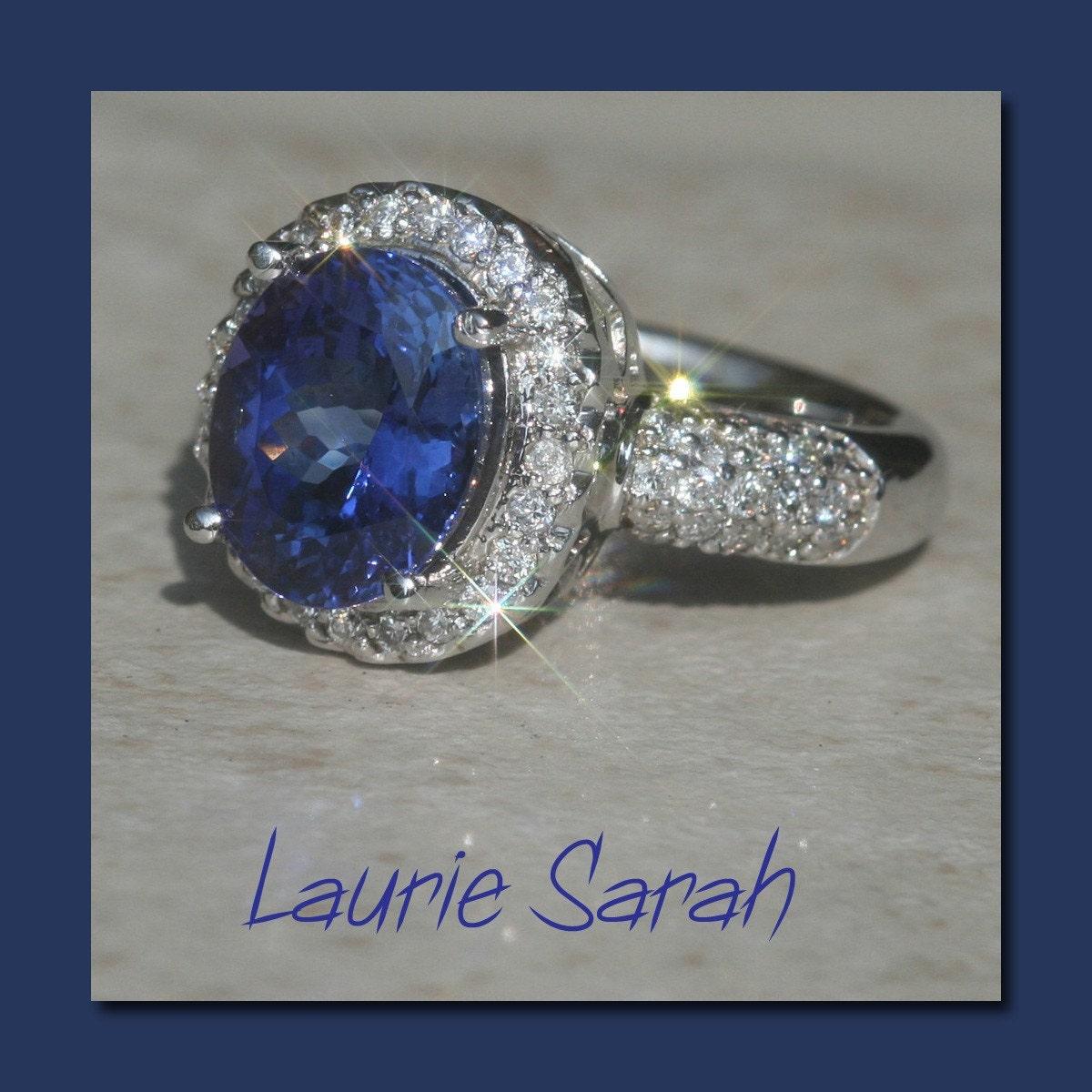 Carat Tanzanite: Engagement Ring Tanzanite And Diamond Ring Over 4 Carat