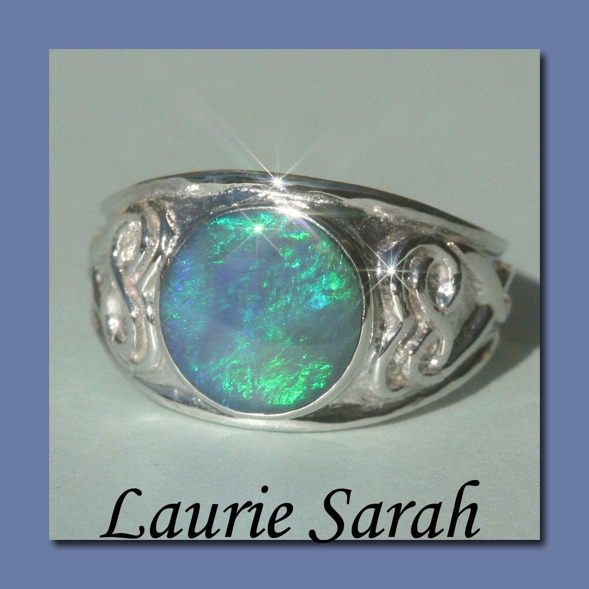Opal Engagement Ring Bezel Set Black Opal Cabochon Ring