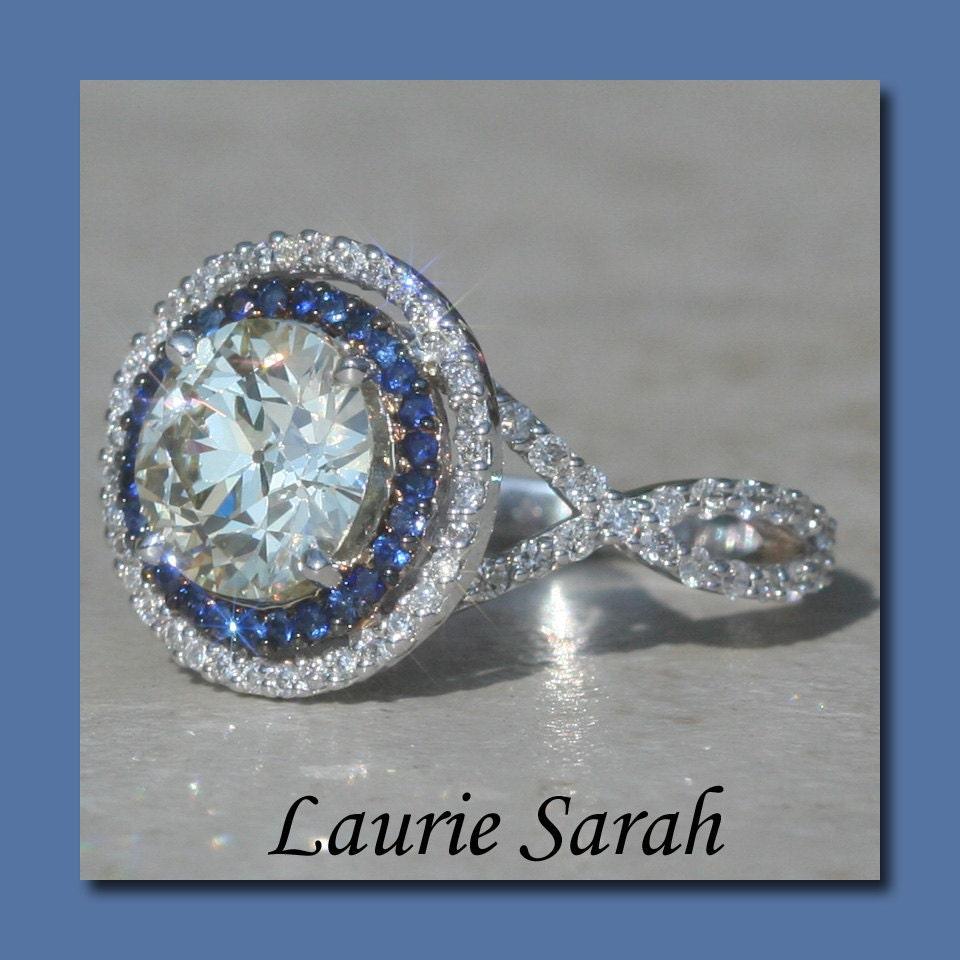 Round Asha Diamond Ring with Blue Sapphire and Diamond Double