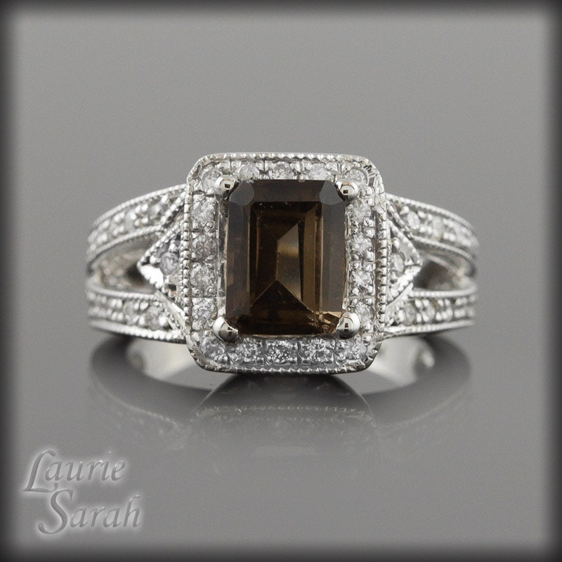 Engagement ring smoky quartz diamond ring with single halo for Quartz wedding rings