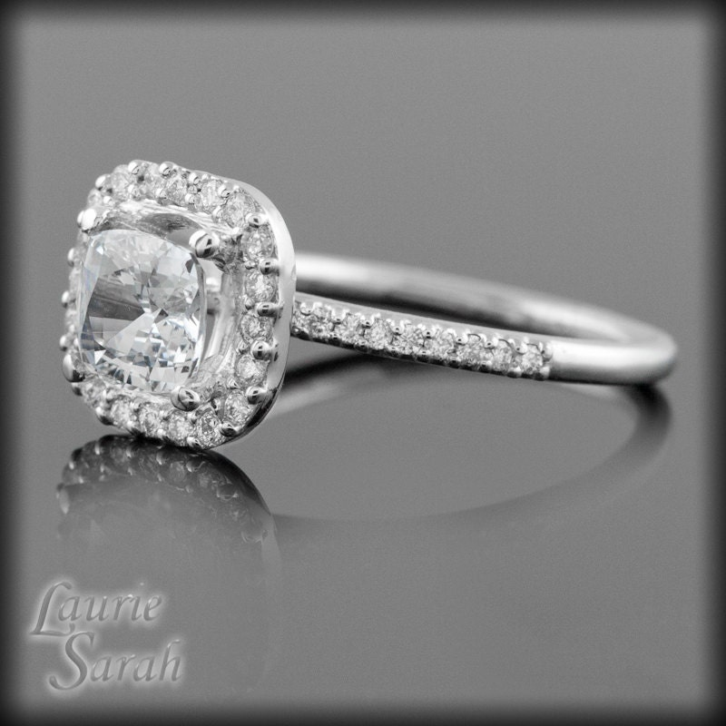 White Sapphire Engagement Ring Square Cushion Cut White