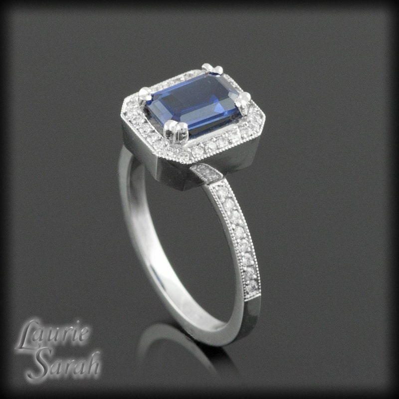 blue sapphire engagement ring emerald cut by