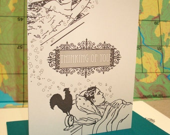 Couple Thinking - letterpress greeting