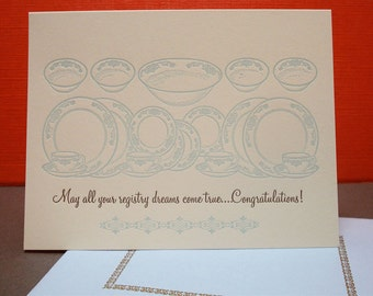 Registry Dreams - letterpress wedding greeting