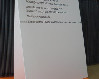Mischief Night Ode - letterpress greeting