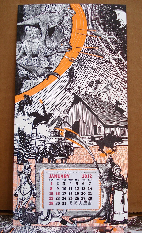 ON SALE - Meteor Strike - 2012 letterpress calendar
