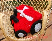 Custom Boutique Red Tractor Crochet Baby Booties - Size 0/6 Months - Perfect Baby Gift