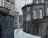 SHADOWS of PRAGUE fine art print charcoal blue gray turquoise black and white surreal