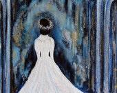 art  print pale blue gray black white gown bride fairy gold dreamy