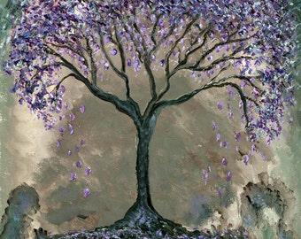 Jacaranda tree fine art print lilac purple violet gray silver pastel blue surreal