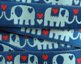 Rosa Pomar Ribbon - Elephant Love on Blue - 1 yard