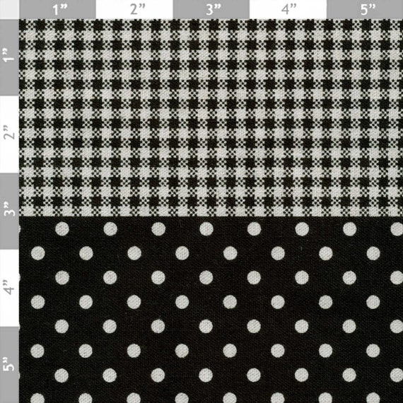 Black Gingham/Dot - Japanese CUTE Fabric - Half Yard