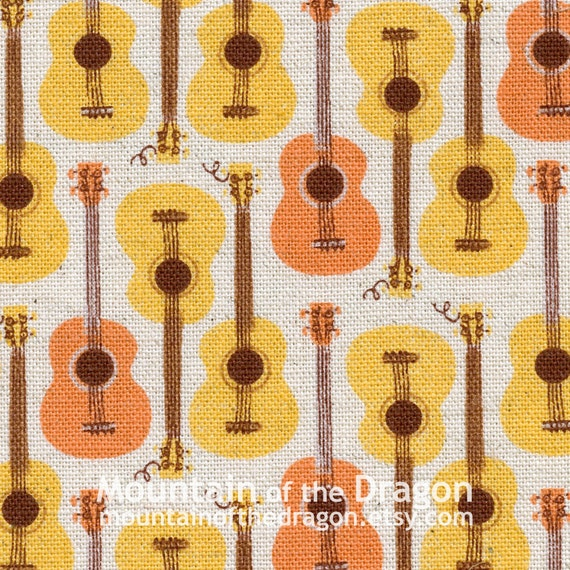 Heather Ross Fabric - Far, Far Away, Chapter 3 - Guitars in Yellow/Orange - Half Yard