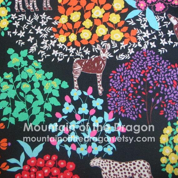 SALE - Echino Fabric by Etsuko Furuya - Bond Savannah in Black - Half Yard