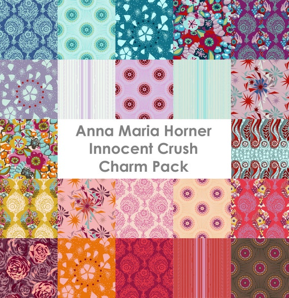 Innocent Crush Fabric by Anna Maria Horner - Charm Pack - 22 Prewashed, Rotary Cut Squares