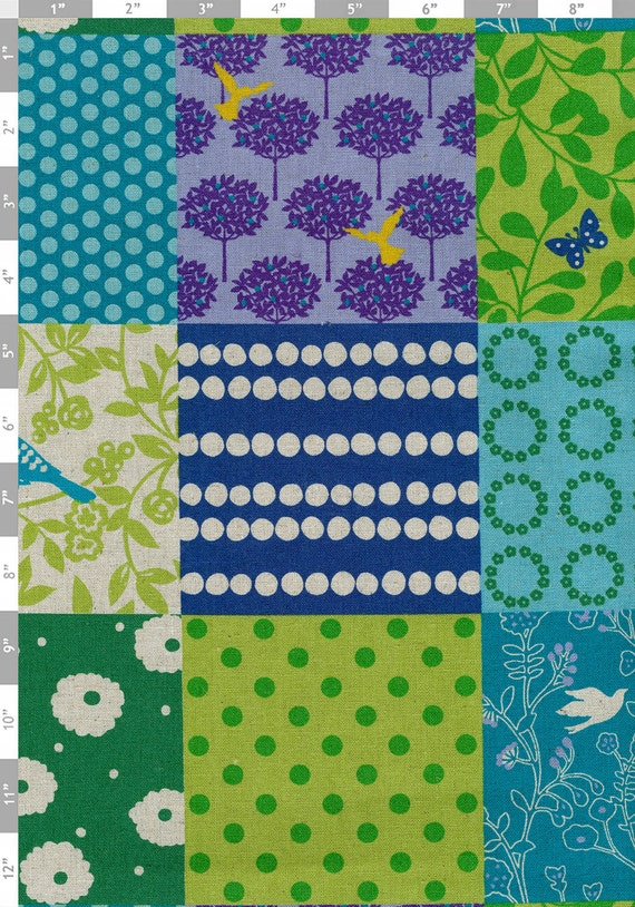 Echino Fabric by Etsuko Furuya - Story Patchwork in Blue, Green- Half Yard