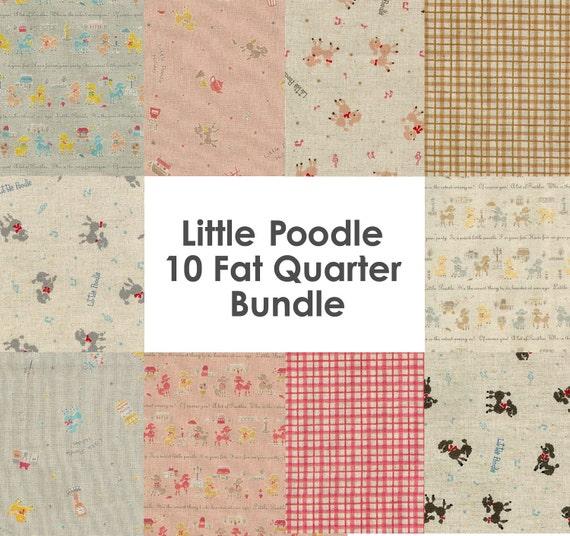 SALE - Little Poodle Kawaii Fabric -  Japanese Imported Cotton/Linen - 10 Fat Quarter Bundle
