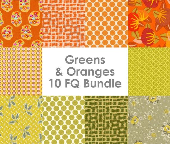 SALE - Instant Stash in Greens and Oranges - Amy Butler, Denyse Schmidt, Kaffe Fassett 10 Fat Quarter Bundle