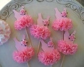 Birthday Decoration Ballerina Tutu Cupcake Toppers  Set of Six Birthday Party