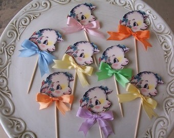Easter Decoration Shabby Chic Little Lamb Cupcake Toppers set of 8 Easter Decorations Easter Party Baby Shower
