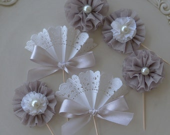 Birthday Decoration Shades of Gray Elegant Cupcake Toppers in Shades of Silver, White, and gray