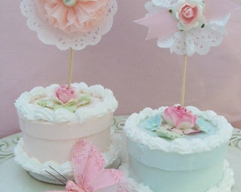 Birthday Decoration Shabby Chic Secret Garden Cupcake Toppers for Birthday Party