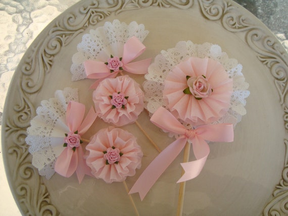 Valentine Decoration Pretty in Pink and Lace Cupcake Toppers and Wand-Valentine Party Shabby Chic