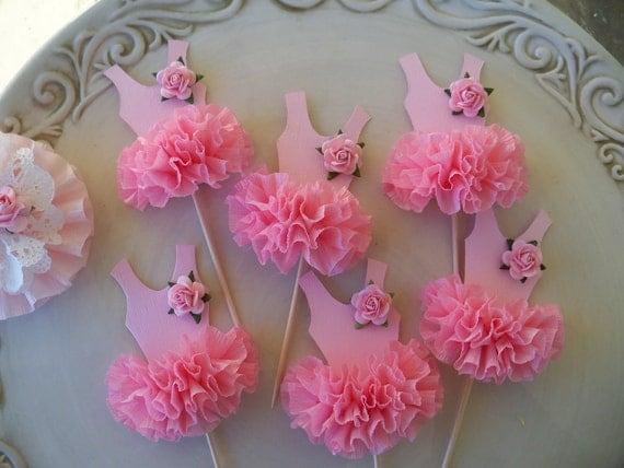 Ballerina Tutu Cupcake Toppers  Set of Six