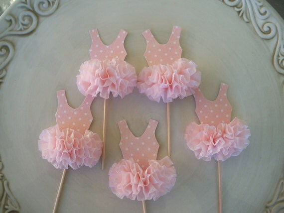 Reserved for Traci Ballerina Tutu Cupcake Toppers set of 6 and matching Cake Topper