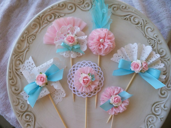 Birthday Decoration Marie Antoinette Inspired Cupcake Toppers Set of Six for Birthday Party