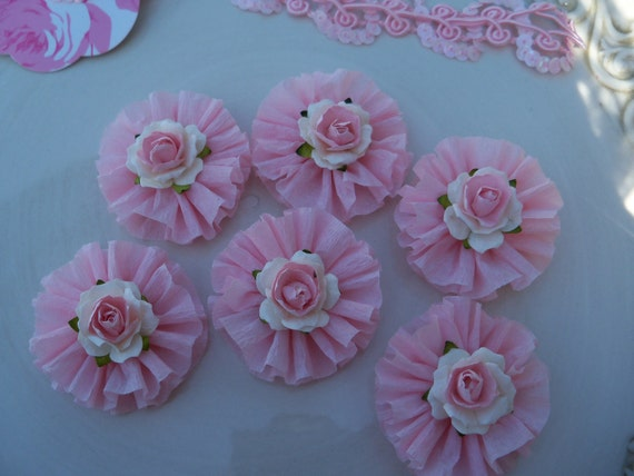 Pretty Rose and Ruffle Cupcake Toppers for Birthday Party and Valentine decoration