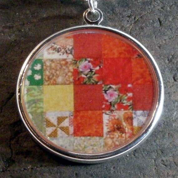 Warm Red Quilt Pendant Necklace