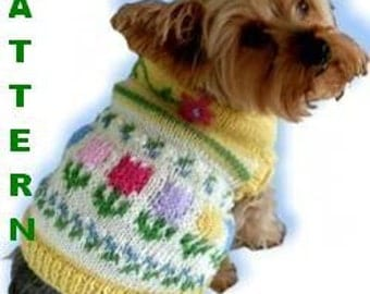 FIDO'S FLOWER GARDEN Embroidered Fair Isle Dog Sweater Knitting Pattern