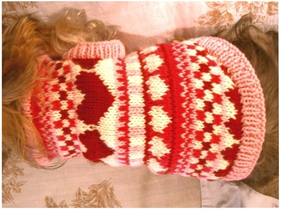 Puppy Love Fair Isle Dog Sweater Knitting Pattern